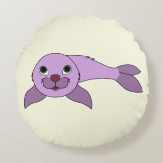 Light Purple Baby Seal Round Pillow