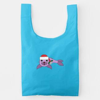 Light Purple Baby Seal - Santa Hat & Silver Bell