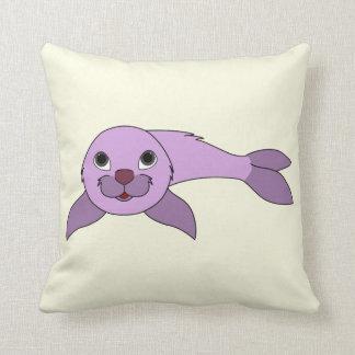 Light Purple Baby Seal Throw Pillows