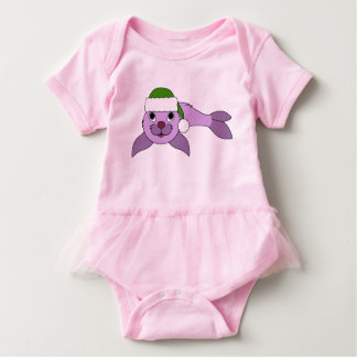 Light Purple Baby Seal with Green Santa Hat Baby Bodysuit