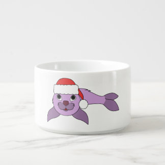 Light Purple Baby Seal with Red Santa Hat Chili Bowl
