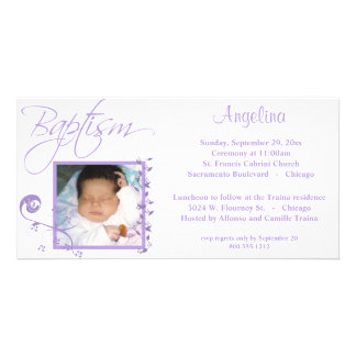 Light Purple Baptism Photo Invitation Customized Photo Card