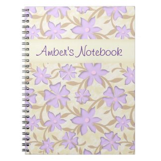 Light Purple Blossoms Flowers Yellow Spring Floral Notebook