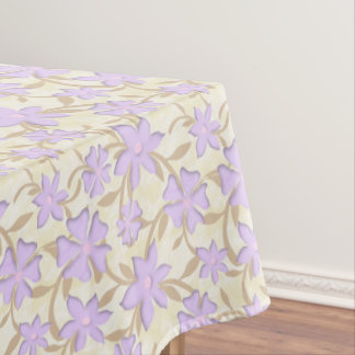 Light Purple Blossoms Flowers Yellow Spring Floral Tablecloth