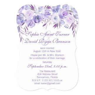 Light Purple Dusty Blue Floral Evening Reception Card