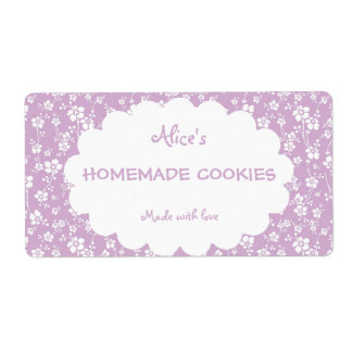 Light Purple Floral Personalized Homemade Cookies