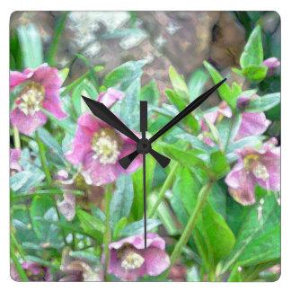 Light Purple Flowers Clock