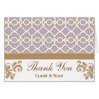 Light Purple Gold Moroccan Thank You Wedding Card