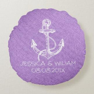 Light Purple Linen Print & White Nautical Anchor Round Pillow