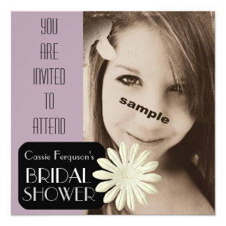 Light Purple Mauve Photo Bridal Shower Invitation