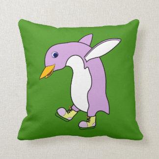 Light Purple Penguin with Yellow Ice Skates Pillows
