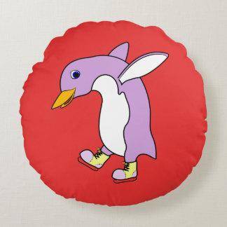 Light Purple Penguin with Yellow Ice Skates Round Pillow