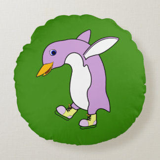 Light Purple Penguin with Yellow Ice Skates Round Pillow