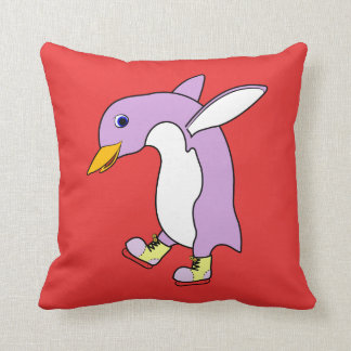 Light Purple Penguin with Yellow Ice Skates Throw Pillow