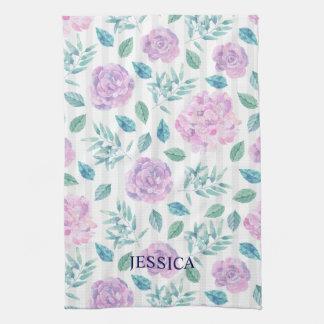 Light Purple & Pink Flowers Pattern Kitchen Towel