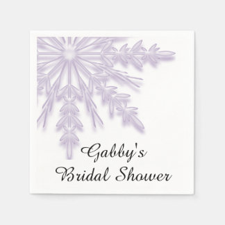 Light Purple Snowflake Winter Bridal Shower Napkin