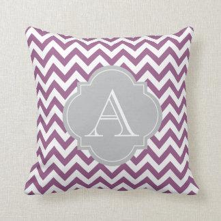 Light Purple & White Chevron Gray Monogram Pillow
