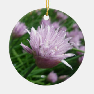 Light Purple Wildflower Round Ceramic Ornament