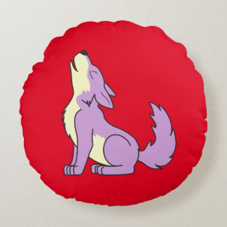 Light Purple Wolf Pup Howling Round Pillow