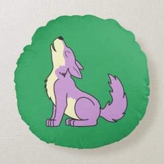 Light Purple Wolf Pup Howling Round Pillow