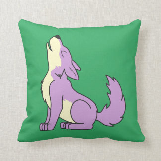 Light Purple Wolf Pup Howling Throw Pillow