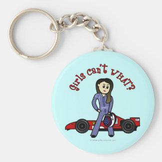 Light Race Car Driver Girl Basic Round Button Keychain