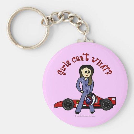 Light Race Car Driver Girl Keychains