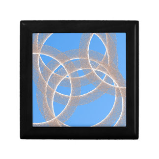 light rings in blue background abstract jewelry box