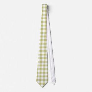 Light Sage Green Gingham; Checkered Pattern Tie