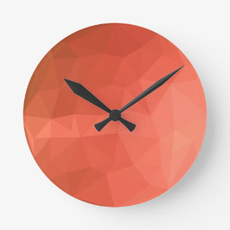Light Salmon Abstract Low Polygon Background Clock