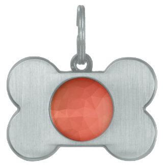 Light Salmon Abstract Low Polygon Background Pet Name Tag