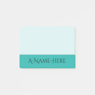 Light Sea Green Background and Black Elegant Name Post-it Notes