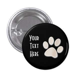 Light Sepia Halftone Paw Print 1 Inch Round Button
