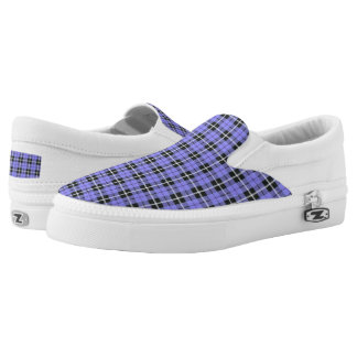 light sky baby blue plaid white/black stripe Slip-On sneakers