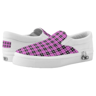 light sky baby pink plaid white/black stripe Slip-On sneakers