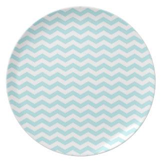Light Sky Blue, Chevron Stripes Party Plate