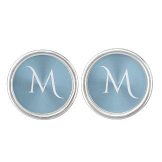 Light Steel Blue Monogram Cufflinks