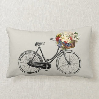 Light stone bicycle flower   Throw pillow