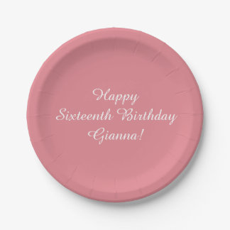 Light Strawberry Pink Customizable 7 Inch Paper Plate