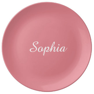 Light Strawberry Pink Customizable Porcelain Plate