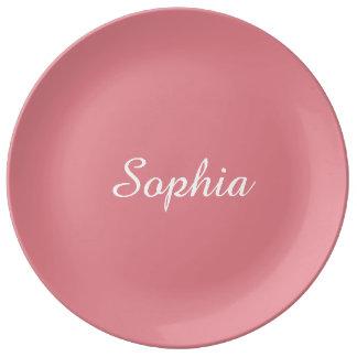 Light Strawberry Pink Customizable Porcelain Plate