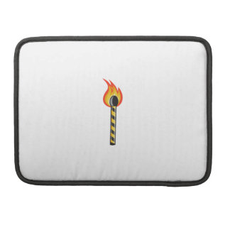 Light Striped Match Stick On Fire Retro Sleeve For MacBook Pro