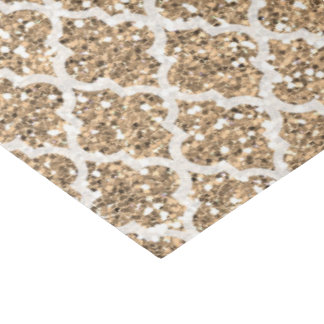 Light tan faux glitter quatrefoil tissue paper
