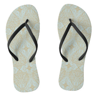 Light Teal and Gold Ethnic Boho Collection Flip Flops