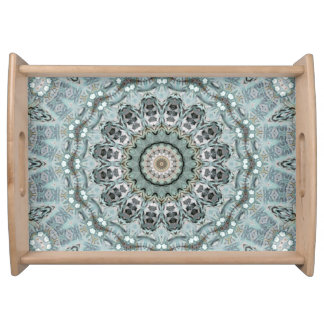 Light Teal and Gray Mandala Art Serving Tray