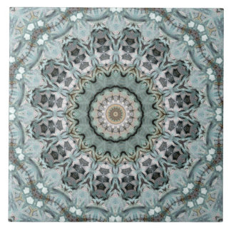 Light Teal and Gray Mandala Kaleidoscope Tile