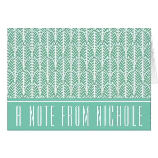 Light Teal and White Deco Palm Pattern Card