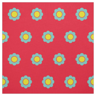 Light Teal and Yellow Flowers on Bright Red Fabric