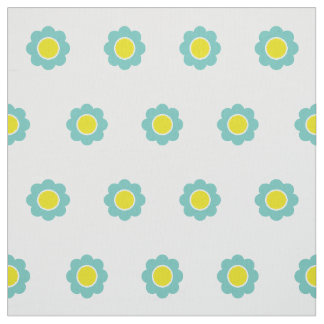 Light Teal and Yellow Flowers on White Fabric