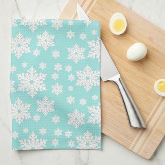 Light Teal Blue Snowflake Pattern Kitchen Towel